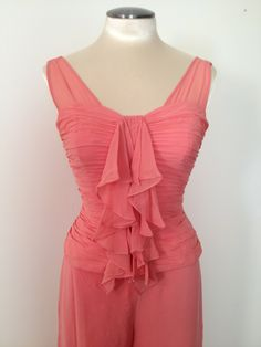 Women's+Peach+Vintage+Clothing+Silk+Outfit+Suit+by+touchofclass123,+$99.00