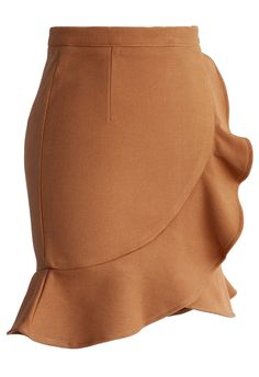 Camel Frilling Bud Skirt - New Arrivals - Retro, Indie and Unique Fashion
