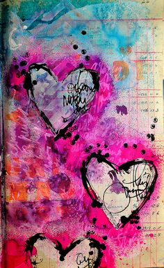 Mixed media collage, heart art, art journals, art journal pages, waterc Kunstjournal Inspiration, Art Journal Inspiration, Mixed Media Journal, Mixed Media Collage, Grafiti, Art Journal Pages, Art Journals, Heart Art, Medium Art