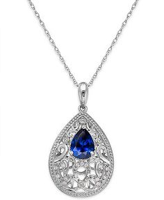 Sapphire (1-1/4 ct. t.w.) and Diamond Accent Pendant Necklace in Sterling Silver
