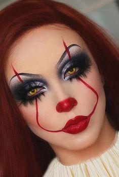 Scary Clown Makeup, Halloween Makeup Clown, Halloween Makeup Looks, Halloween Inspo, Scary Halloween Costumes, Zombie Makeup, Halloween Cosplay, Maquillage Yeux Cut Crease, Beautiful Halloween Makeup