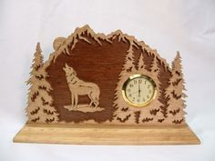 Handcrafted Wolf in the Forest Wood Shelf or by CraftWorkDesigns