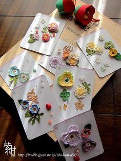 Shi-Kon Work. 【押刺花】 材料:綿・その他。花一匁。 Crochet Hair Clips, Crochet Hair Styles, Crochet Earrings, Crochet Hair Accessories, Handmade Accessories, Crochet Flowers, Crochet Lace, Brazilian Embroidery, Embroidery Techniques