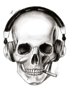 Skull+Drawings | skull and headphones by conor332211 traditional art drawings fantasy ...
