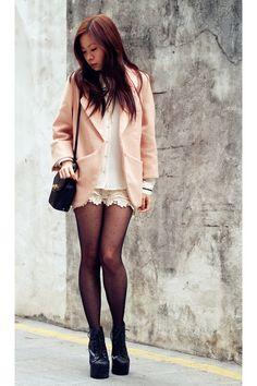 Blazer, sheer blouse, lace shorts, polka dot tights, JC Litas