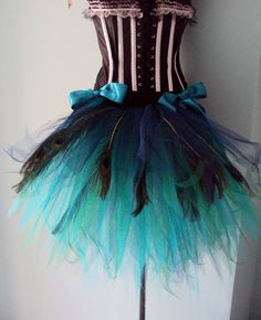 Burlesque Peacock Bustle Belt in French Navy Blue Teal Green Turquoise with Peacock feathers .  This can be made in different sizes please just