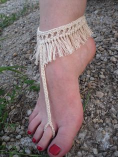 Free Shipping Crochet Fringe Barefoot Foot Jewelry by Serbiangirl