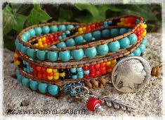TURQUOISE WRAP BRACELET/ NATIVE AMERICAN LEATHER WRAP BRACELET/ SEED BEAD LEATHER BRACELET/ SOUTHWESTERN BEADED BRACELET/ SEED BEAD BRACELET. BROWSE MY COLLECTION OF 4 STRAND SINGLE WRAP BRACELETS CREATED BY ME, HERE:
