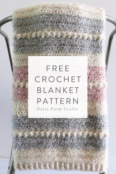 Free Crochet Blanket Pattern - Hygge Powder Puff Blanket Always wanted to be able to knit, yet undecided where to start? This Overall Beginner Knitting Set is exactly what you n. Crochet Home, Knit Or Crochet, Learn To Crochet, Baby Blanket Crochet, Crochet Crafts, Diy Crochet Blankets, Crochet Throws, Knit Blankets, Baby Blankets