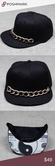 ➡NWT ElevenParis Black Chain Hat⬅ Upgrade your street style with this uber cool hat. Adjustable snapback closure. Thick gold chain detail. Detailed yin yang money print pattern underneath bill. Grommet ventilation. New with tags. Offers welcome. Take 30% off your entire purchase automatically at checkout when you use the bundle feature, or make an offer for your bundle. Happy Poshing! Eleven Paris Accessories Hats