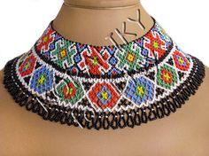 Traditional Ukrainian Folk Handmade Glass Beads Beaded NECKLACE Gerdan: Multicolor