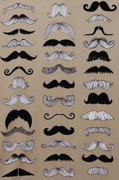 MUSTACHE FABRIC - Where's My Stache in Taupe - Nicole's Prints from Alexander Henry - Half Yard