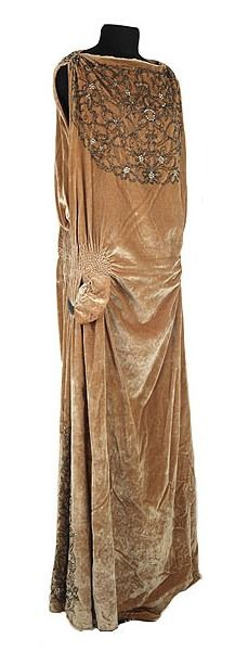 Dress: ca. 1920's, velvet embellished with beading and sequins.