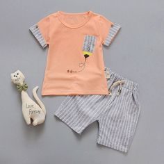 Summer Baby Boys Girls Set Cotton T-shirt And Shorts With Animal Print - Everything For Babies Toddler Boys, Baby Boys, Baby Boy Outfits, Kids Outfits, Boys And Girls Clothes, Baby Boy Fashion, Child Fashion, T Shirt And Shorts, Kid Styles