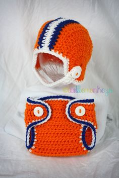 florida gators newborn on Etsy, a global handmade and vintage marketplace. Crochet Baby Props, Crochet Baby Clothes, Crochet For Boys, Crochet Bebe, Crochet Photo Props, Newborn Crochet, Cute Crochet, Crochet Costumes, Crochet Football