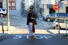 Jacket: Marine Layer\  Tank: J. Crew, Favorite Tank\  Top: Old Navy, Women's Plaid Flannel Boyfriend Shirt\  Jeans: Gap, 1969 Sexy Boyfriend Jeans\  Shoes: Sophia Webster x J. Crew, Amma Pump\  Sunglasses: Ray-Ban, Original Aviator\  Bag: Louis Vuitton via Poshmark