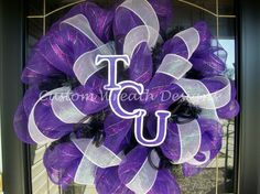 Deco Mesh TCU Wreath except I would make it radford or vt. Black Wreath, Purple Wreath, Mesh Ribbon, White Ribbon, Painted Letters, Hand Painted, Purple Day, School Colors, Deco Mesh Wreaths
