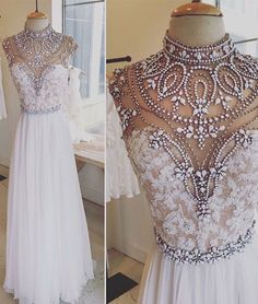 Luxurious A-Line prom dress,High Neck White Lace Long