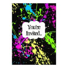 Fresh Retro Neon Paint Splatter Party Invitation  https://www.birthdays.durban
