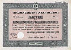 Trachenberger Zuckersiederei /Aktie 100 RM Dez. 1936 (Auflage 2700).