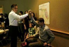 ann romney and josh romney | former Massachusetts Governor Mitt Romney (l) high fives his son Josh ...