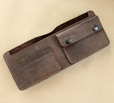 Brown leather wallet genuine leather clutch leather small wallet leather compact wallet card holder coin pocket leather clutch purse Slim functional leather wallet made from genuine leather. Hand cut and hand stitched with Polyester waxed thread. There are 1 cash & coins pocket and 2