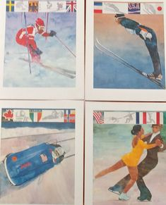 The Olympics are about to begin. Check out these 1980 Olympic prints. #etsy shop: 1980 Winter Olympics Prints from Procter and Gamble http://etsy.me/2De3I1w #art #printmaking #olympics #winterolympics #bartforbes #bobsled #figureskating #miracleonice #collectible