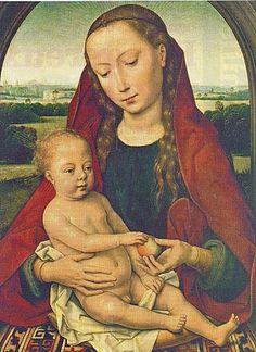 La Vierge à l'Enfant à la pomme est un petit tableau peint vers 1487,par le grand Flamand Hans Memling (Musée d'Art ancien de Lisbonne)
