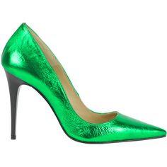 Francesca Conoci Metallic Effect Leather Pumps ($64) ❤ liked on Polyvore featuring shoes, pumps, heels, platform stiletto pumps, pointy-toe pumps, platform shoes, stiletto heel pumps and metallic pumps