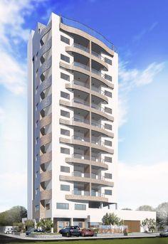 Estudo desenvolvido para um residencial próximo à praia, onde as curvas trazem um ar descontraído e a área de lazer no terraço traz a melhor vista de Aracaju: a Orla e a Praia de Atalaia - Immobile Arquitetura
