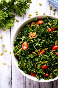 Kale goes from bitter and tough to tender, sweet + tangy in this delicious salad. Sub agave for honey. Kale Salad, Soup And Salad, Bean Salad, Quinoa Salad, Salad Bowls, Vegetarian Recipes, Cooking Recipes, Healthy Recipes, Healthy Foods