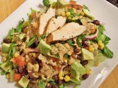 This is a Zone-appropriate main dish salad with Mexican flavors. This makes one 3-block serving.