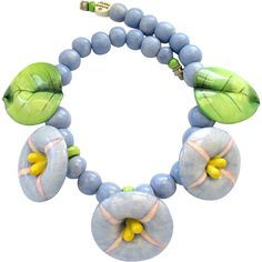 Vintage Parrot Pearls Ceramic Tropical Flower Choker Necklace - SOLD
