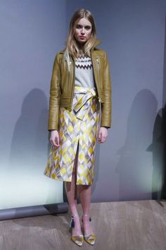 J.Crew fall 2015 printed skirt, leather jacket, and sweater
