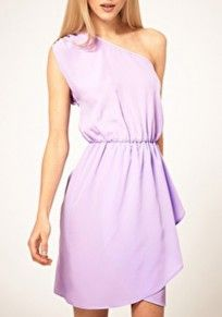 Light Purple Cascading Ruffle Asymmetric Shoulder Chiffon Dress