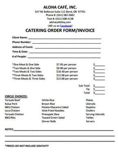 Catering order form Template Free Inspirational Catering Invoice Template 7 In 2019