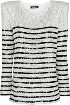 Balmain Striped sequined top
