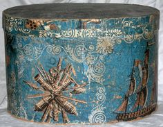 Circa 1830 wallpaper hat box with marine motif