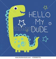 dinosaur vector drawn with typo for baby tee print