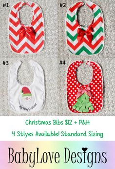 Our Super Cute Baby Bibs are available for Preorder!  Christmas Bibs $12 + P&H  *Please Note - We will be closed last 2 weeks of October so all orders will need to be in by then.*Lay-By Available*ETA November*