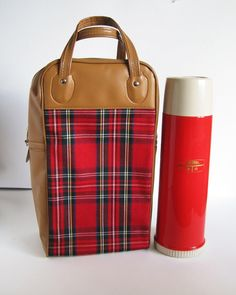 """Your lunch will be voted """"Best Dressed"""" with this set! vintage red Thermos with matching plaid / tartan bag from ReverseChronology"""