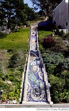 The lovely mosaic staircase which begins on 16th Ave. and Moraga, and leads up to Grandview Park in San Francisco.