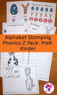 Free Alphabet Stomping Phonics Z Prek-Kinder Pack - 30 pages of printables - 3Dinosaurs.com