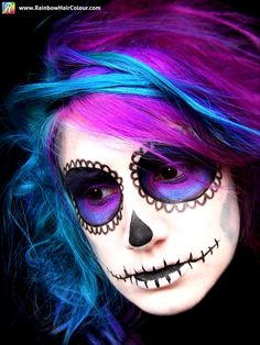 Day of the Dead: Sugar Skull Hair and Makeup by @Anya Goy. https://www.rainbowhaircolour.com/day-of-the-dead-sugar-skull-hair-and-makeup/ #HalloweenHair #SugarSkull