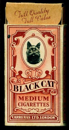 Cigarettes - Black Cat (English), lovely look backward on what cigarette boxes looked like. thehorseandhare.com likes this but hates smoking...