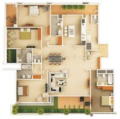Remarkable 1000 Images About 3d Floor Plans On Pinterest Bedroom Apartment House Floor Plan In 2D Pics - House Floor Plans