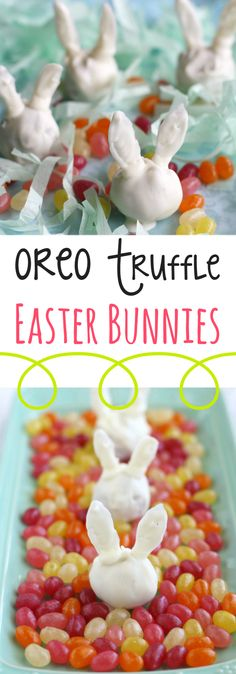 Make these easy and cute OREO truffle Easter Bunnies for your Easter dessert table! Everyone loves this simple dessert! #easter