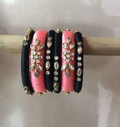 Chuda Bangles, Kundan Bangles, Silk Bangles, Bridal Bangles, Silk Thread Bangles Design, Silk Thread Earrings, Thread Jewellery, Diy Earrings Tutorial, Jewelry Crafts