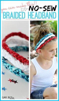 Red White Blue Braided Headbands - no sew! - Sugar Bee Crafts
