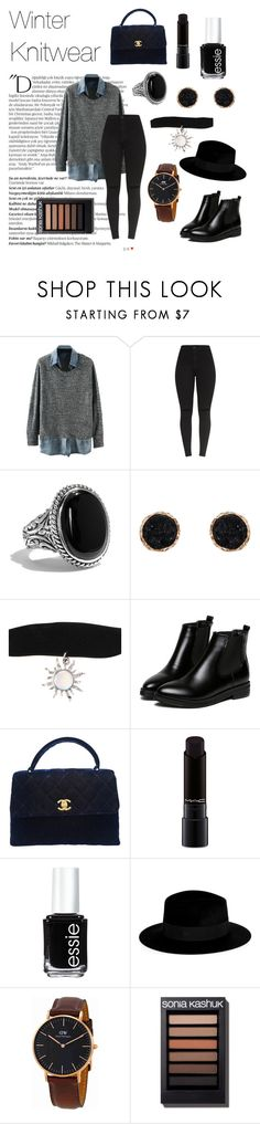 """""""Winter is coming"""" by ventablack ❤ liked on Polyvore featuring Balmain, Humble Chic, Hot Topic, WithChic, Chanel, MAC Cosmetics, Essie, Maison Michel, Daniel Wellington and modern"""